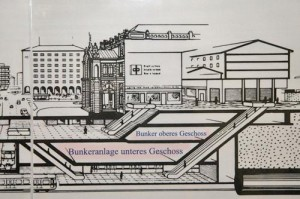 Lage des Bunkers im Querschnitt des Nürnberg Hauptnahnhof