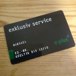 """Meine alte """"exclusiv service""""-Karte von E-Plus."""
